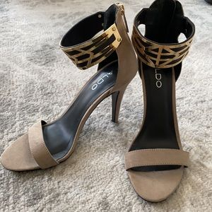 Aldo Suede Heels with Gold Strap